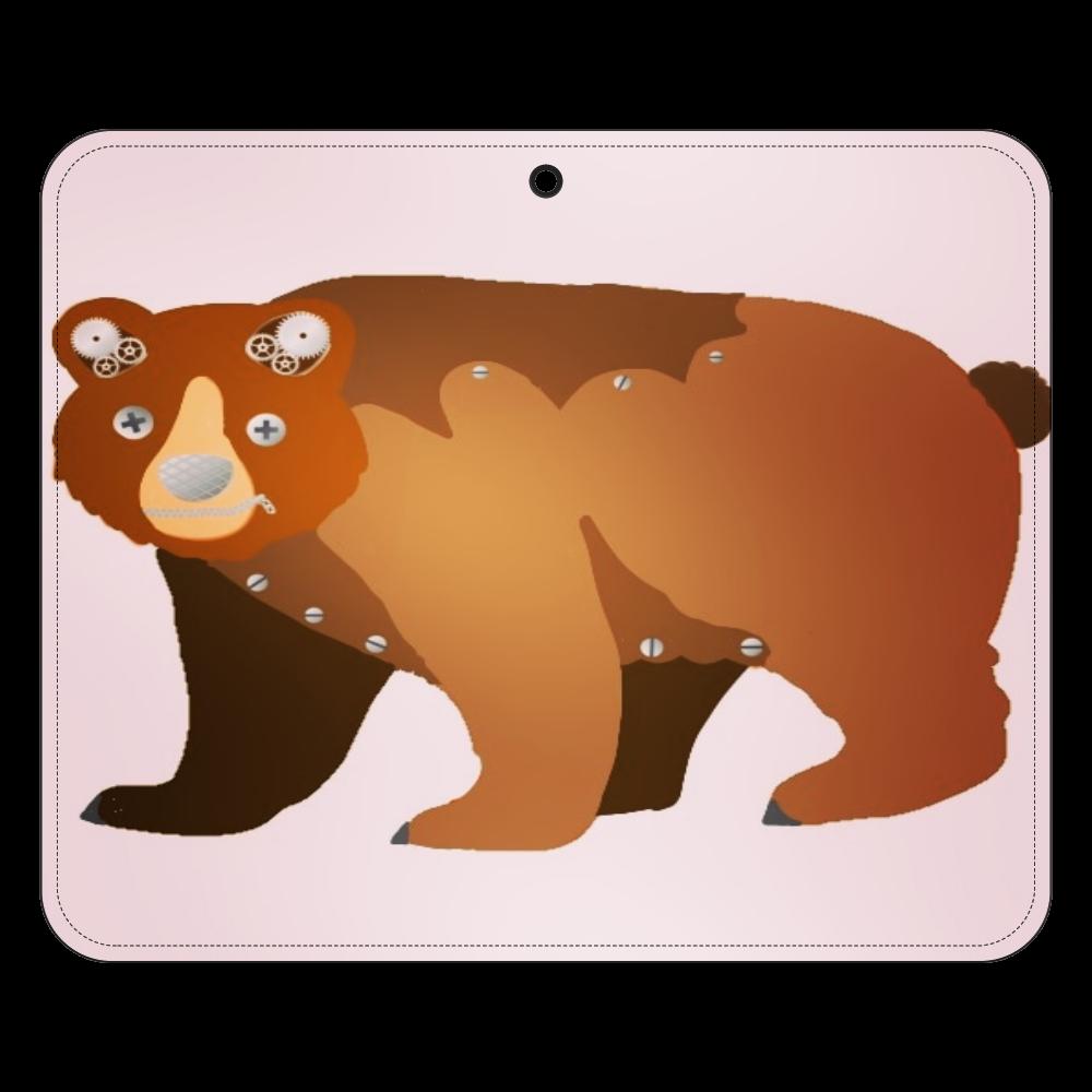 くま柄ピンクデザイン 帯なし手帳ケース(汎用マルチスライド式パーツ)L