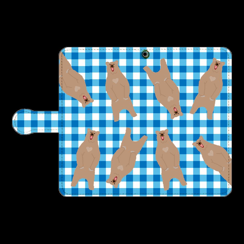 くま柄BLUEチェックデザイン 手帳型ベルト付きアンドロイドM