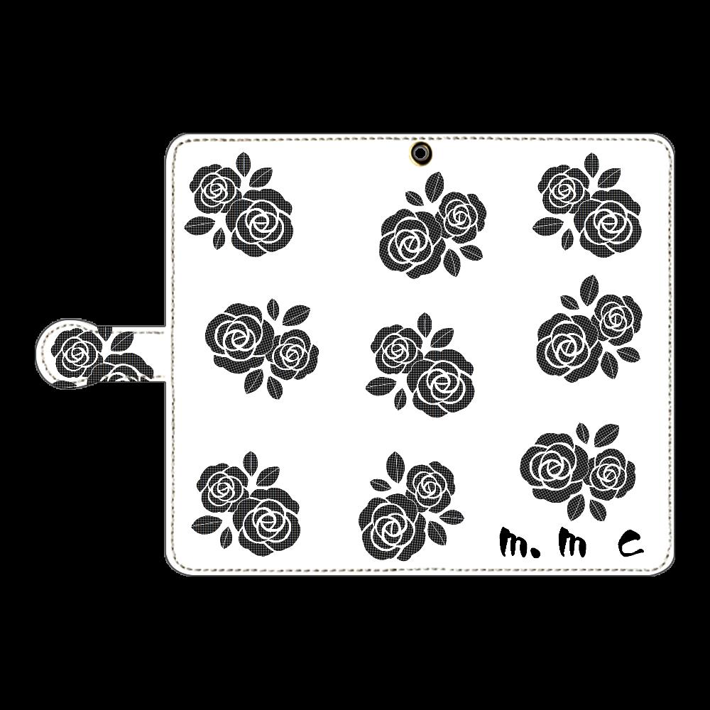 黒花デザイン 手帳型ベルト付きアンドロイドL