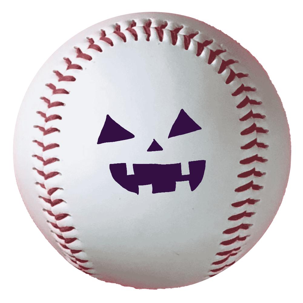 ハロウィンカボチャおばけのお顔 野球ボール(硬式)
