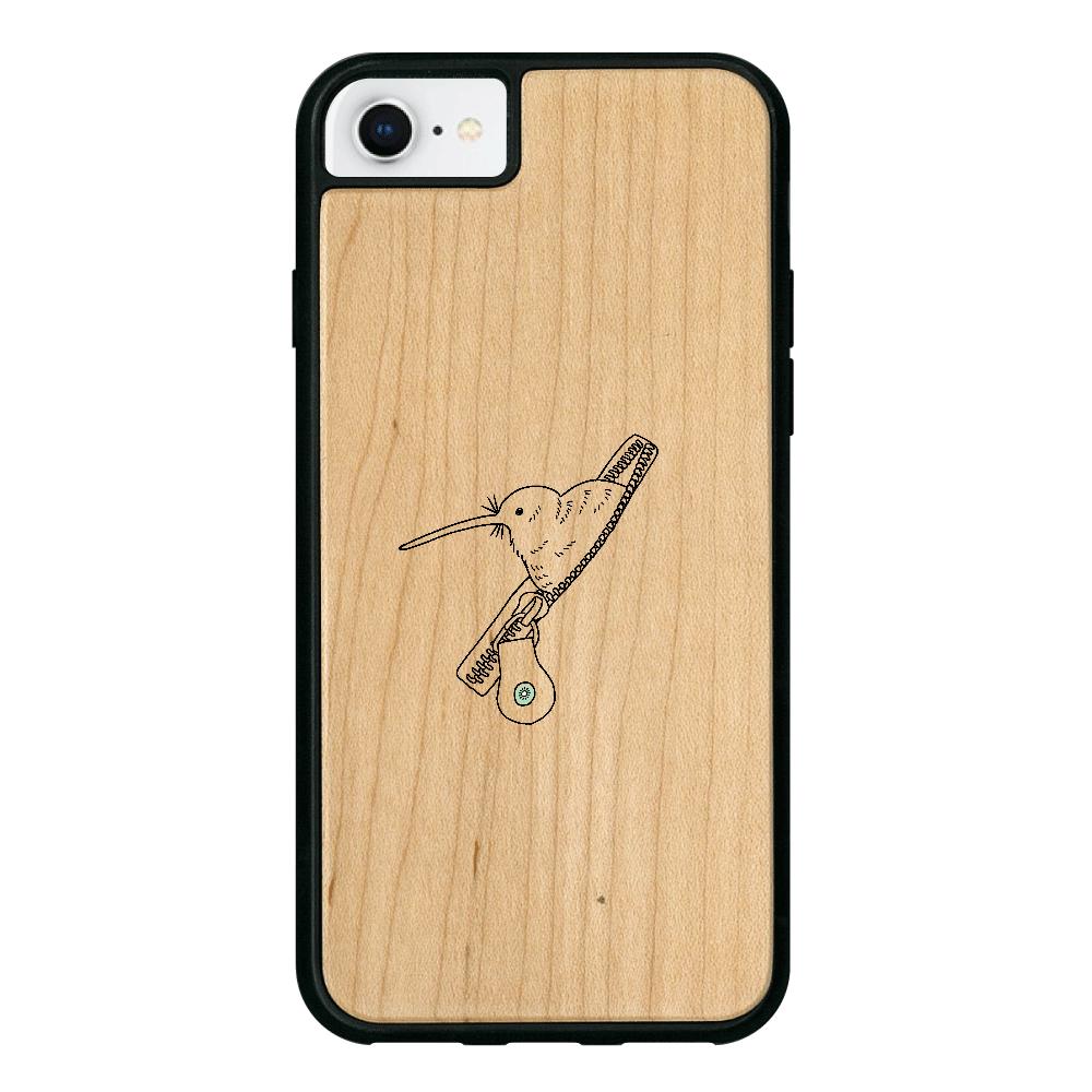 ファスナーからキーウィ iPhone8 ウッドケース