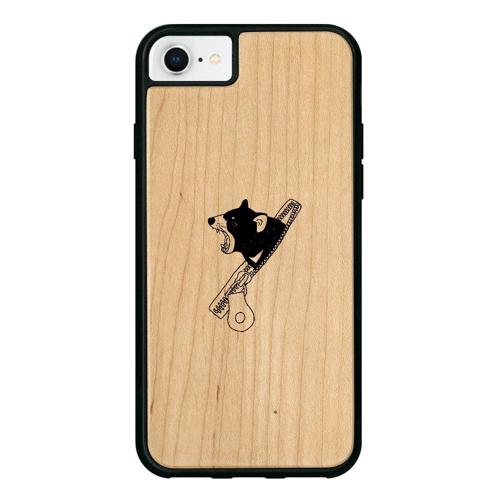 ファスナーからタスマニアデビル iPhone8 ウッドケース