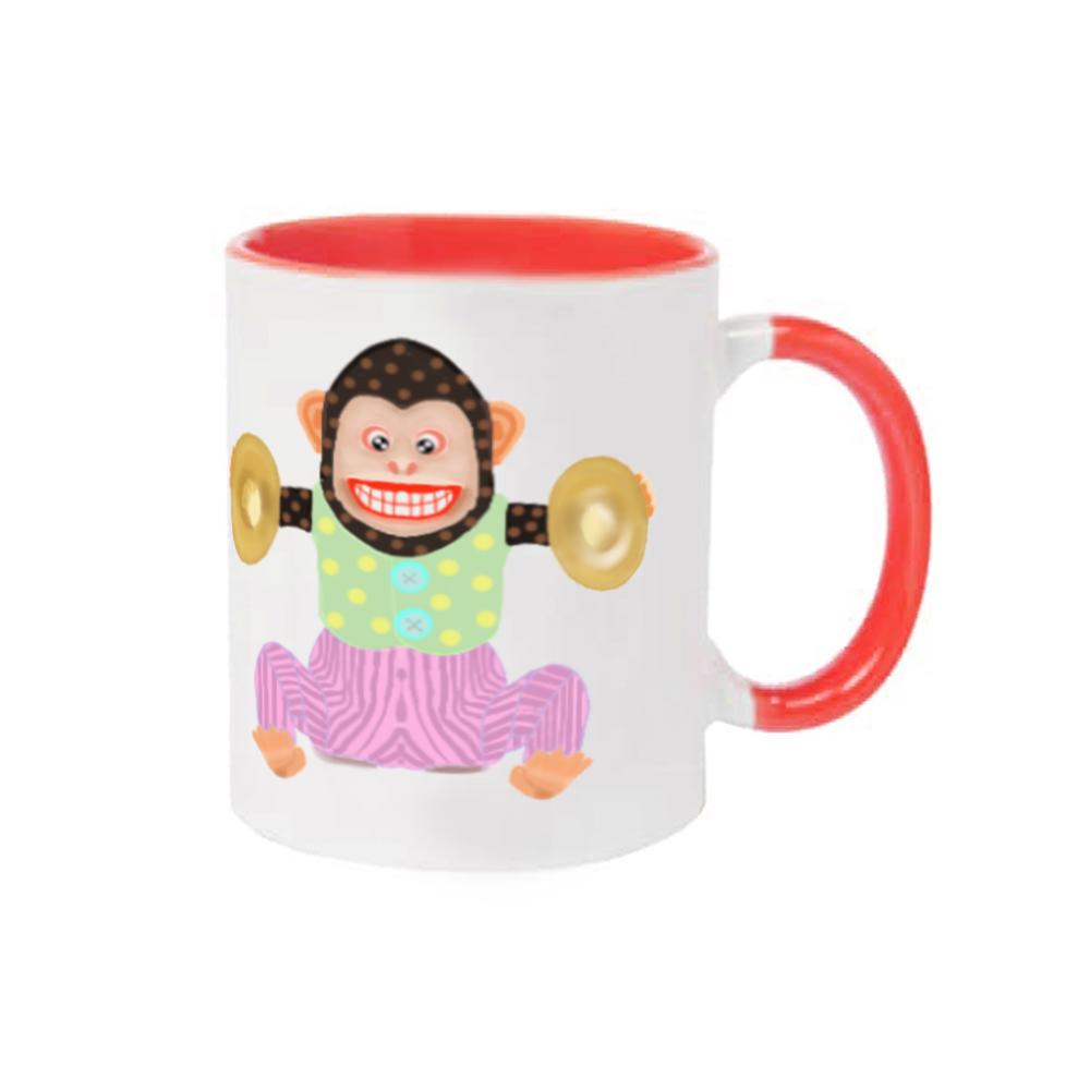 おさるのオモチャピンクデザイン 2トーンマグカップ