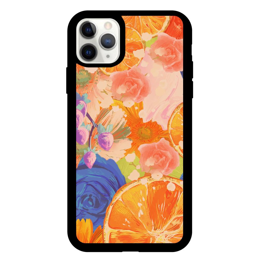 Flowersデザイン iPhoneケース iPhone11proMax クリアパネルラバーケース