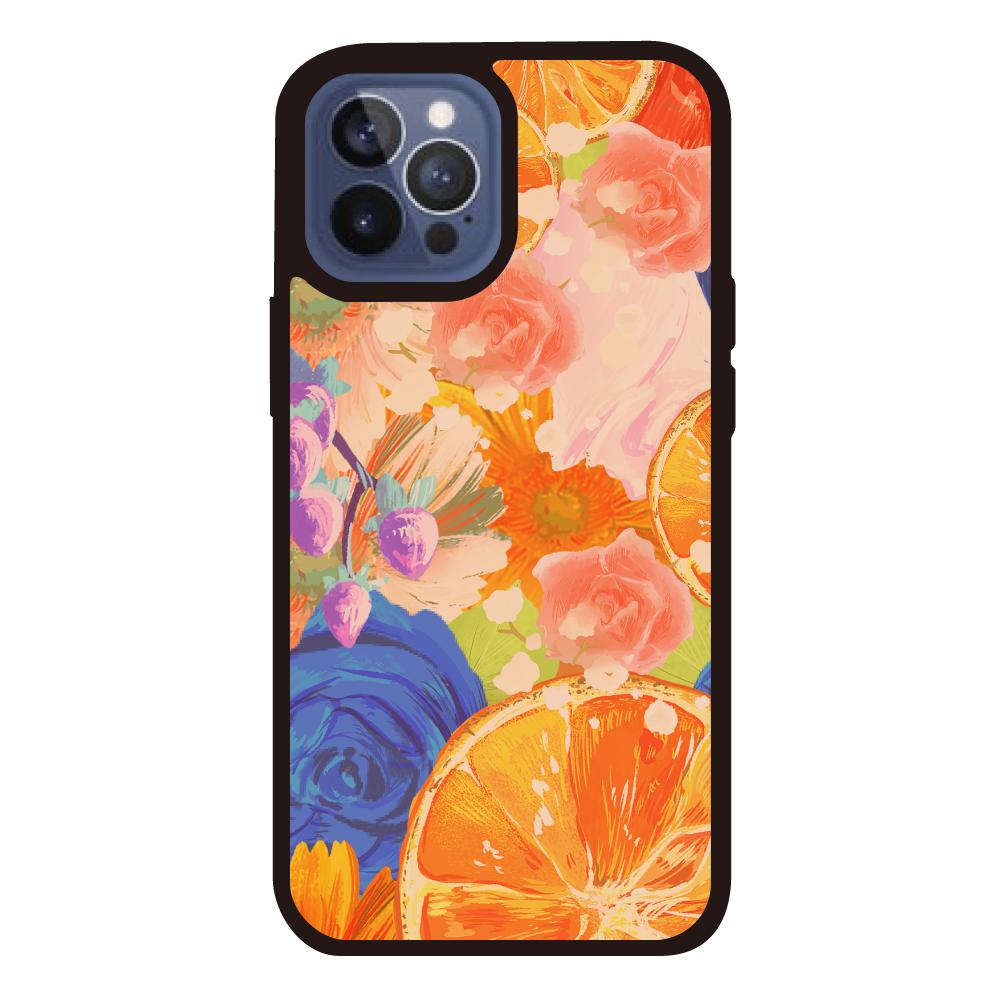 Flowersデザイン iPhoneケース iPhone12ProMAXクリアパネルラバーケース