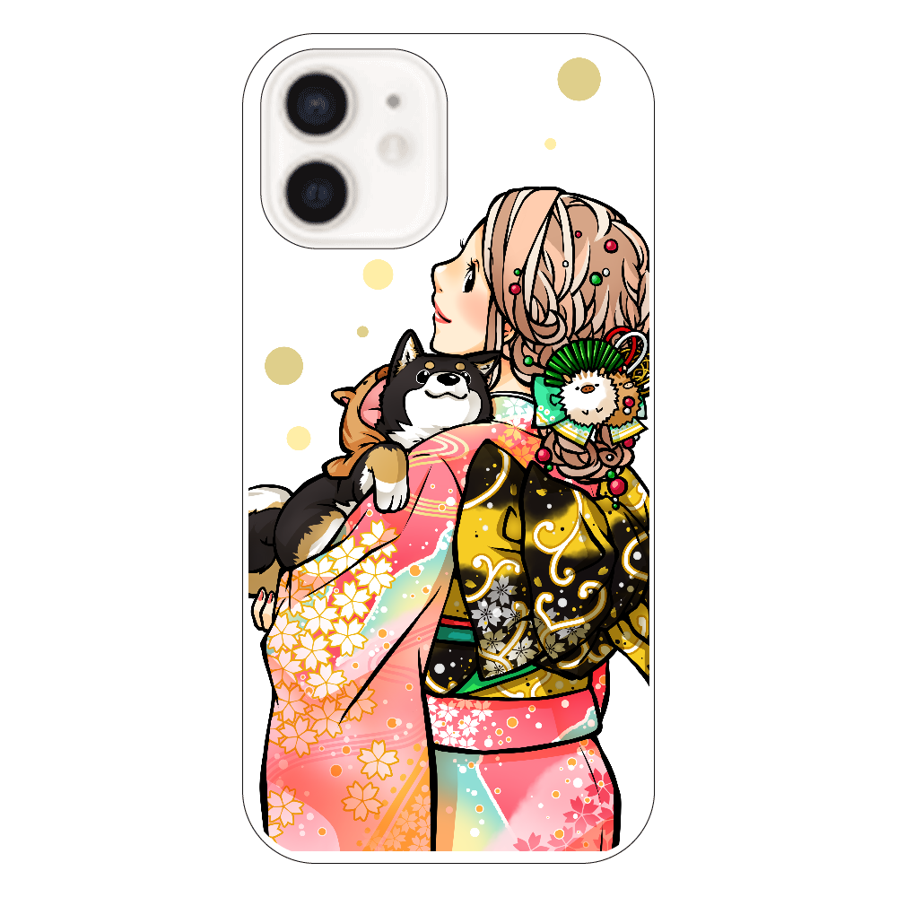 きもの女子と黒柴_B iPhone12