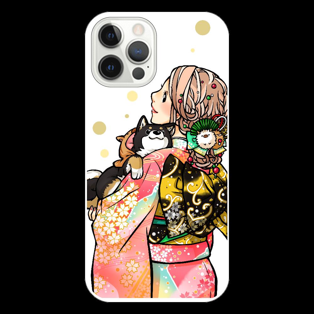 きもの女子と黒柴_B iPhone12 Pro(透明)