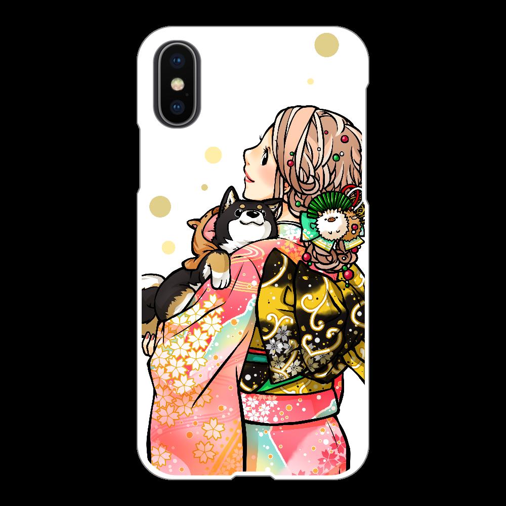 きもの女子と黒柴_B iPhoneX/Xs(白)