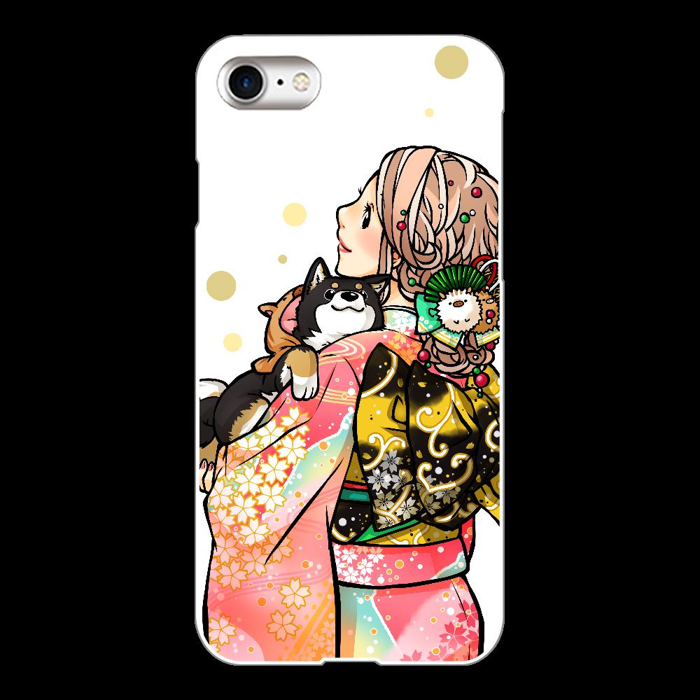 きもの女子と黒柴_B iPhone8(白)