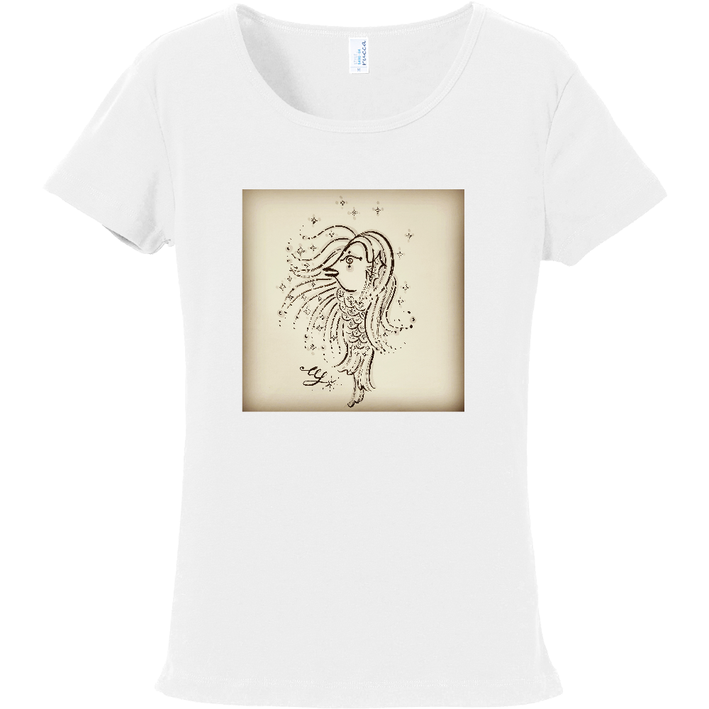 ミズ・ソウル レディ・アマビエ セピアカラー レディスTシャツ フライスTシャツ