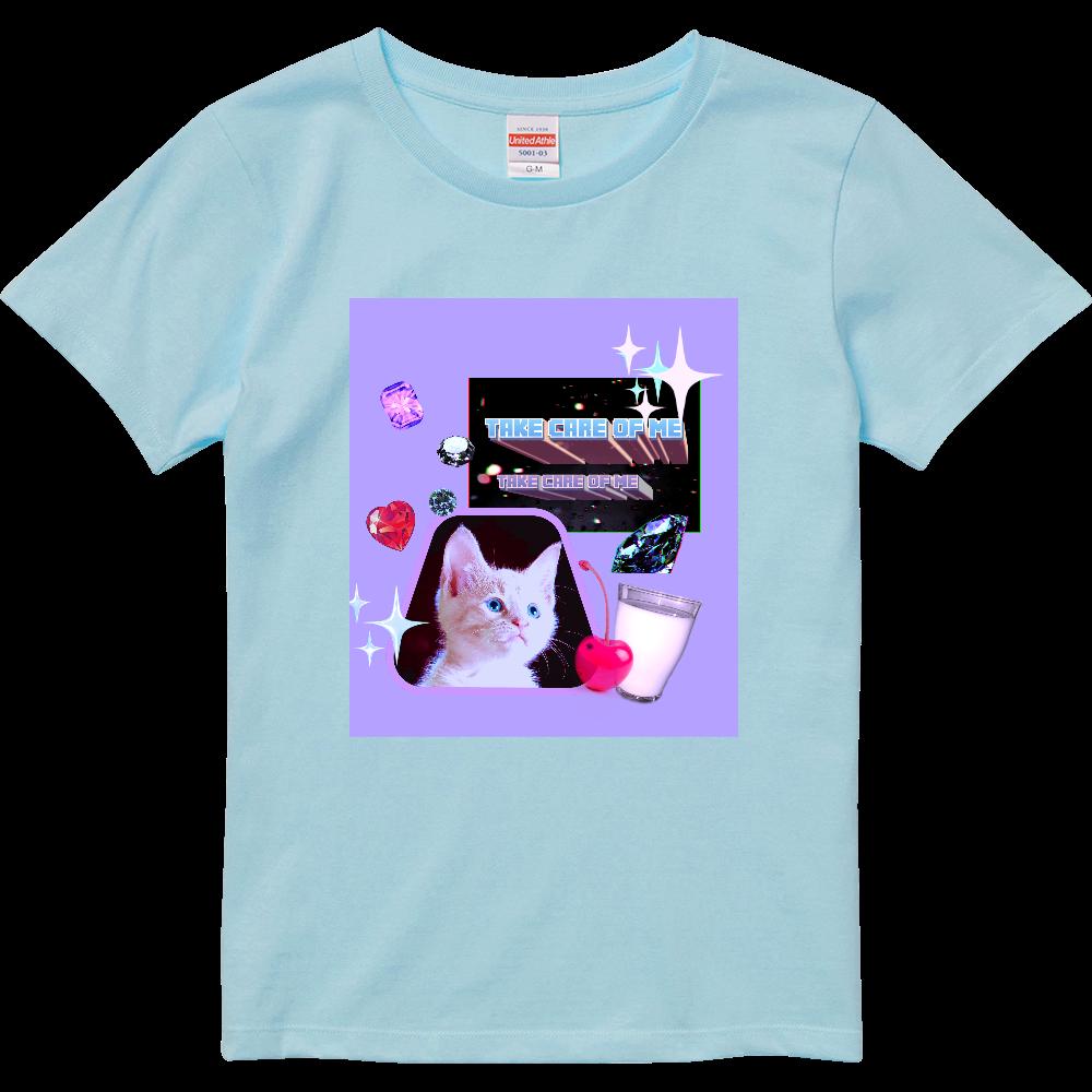 異次元ネコちゃん ハイクオリティーTシャツ(ガールズ) ライトブルー ハイクオリティーTシャツ(ガールズ)