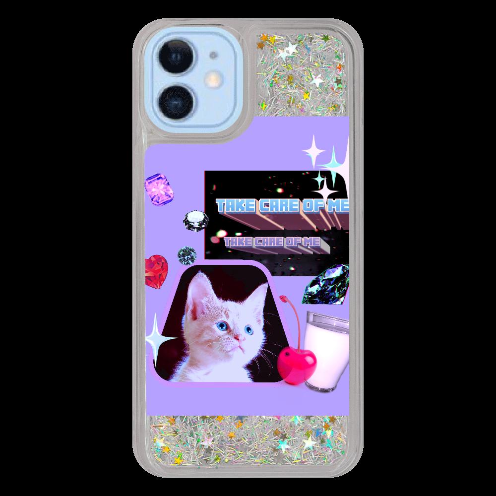 異次元ネコちゃん iPhone12/12pro グリッターケース シルバー iPhone12/12pro グリッターケース