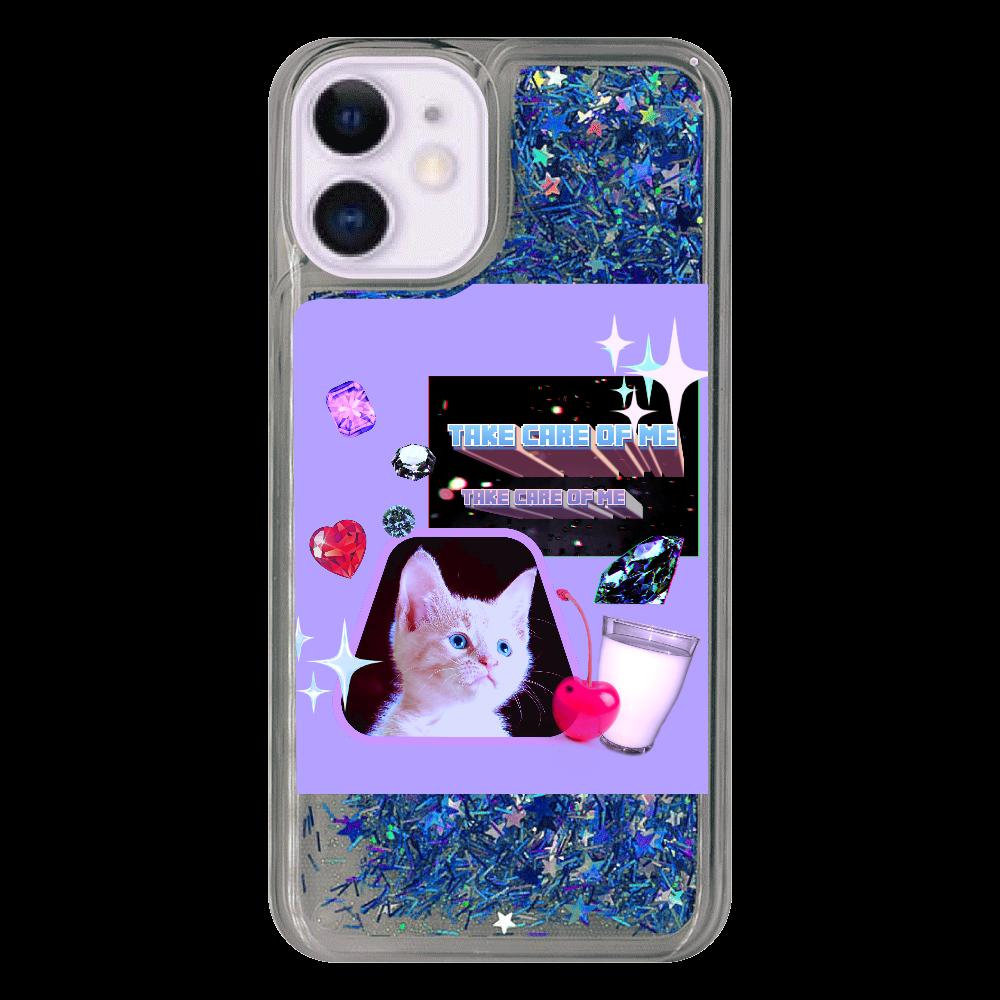 異次元ネコちゃん iPhone12mini グリッターケース ブルー iPhone12mini グリッターケース
