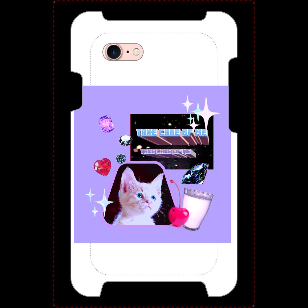 異次元ネコちゃん iPhoneSE2_ミラーケース ホワイト iPhoneSE2_ミラーケース