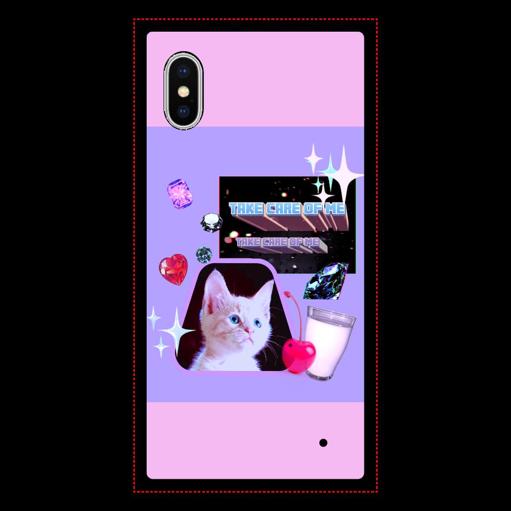 異次元ネコちゃん  iPhoneX/XS 背面強化ガラス(スクエア) クリア iPhoneX/XS 背面強化ガラス(スクエア)