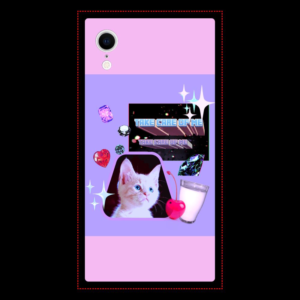 異次元ネコちゃん iPhoneXR 背面強化ガラス(スクエア) クリア iPhoneXR 背面強化ガラス(スクエア)