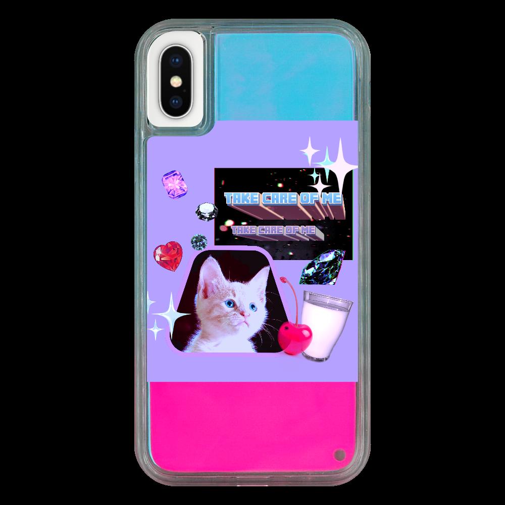 異次元ネコちゃん iPhoneX/XS ネオンサンドケース ピンク×青 iPhoneX/XS ネオンサンドケース