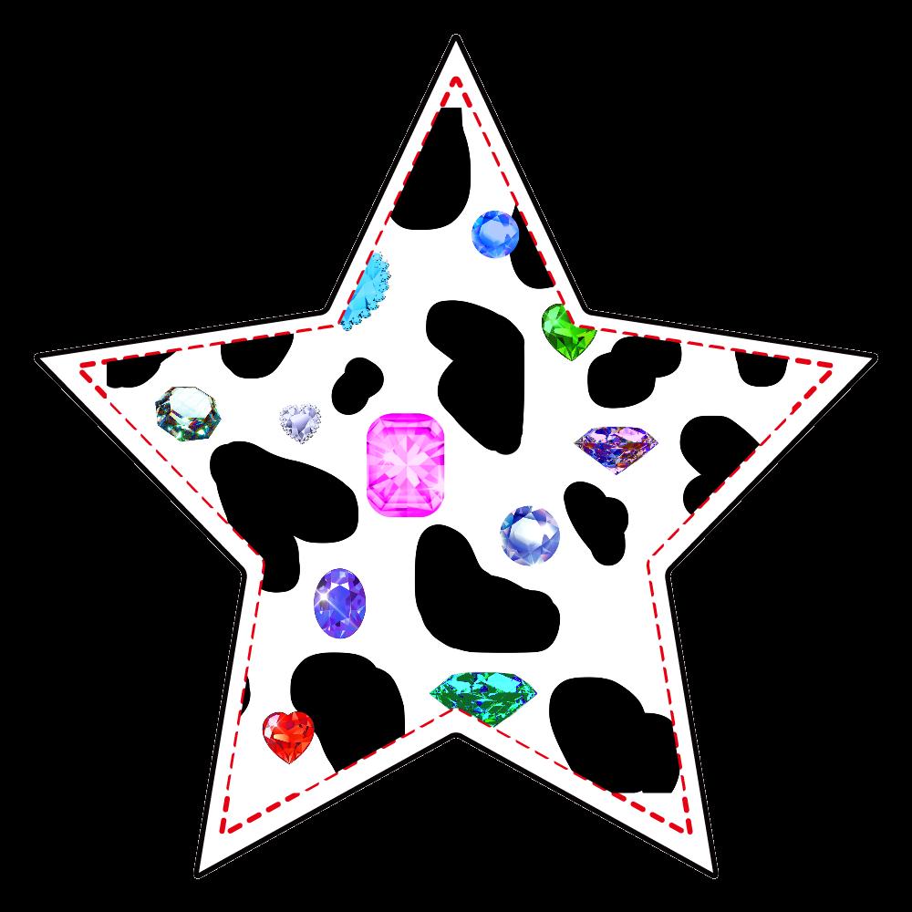 アクリルキーホルダー 星形(4cm) 牛柄と宝石 アクリルキーホルダー 星形 (4cm)
