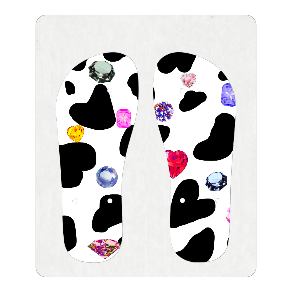 牛柄と宝石 ビーチサンダル S(23~24cm) ホワイト ビーチサンダル S(23~24cm)