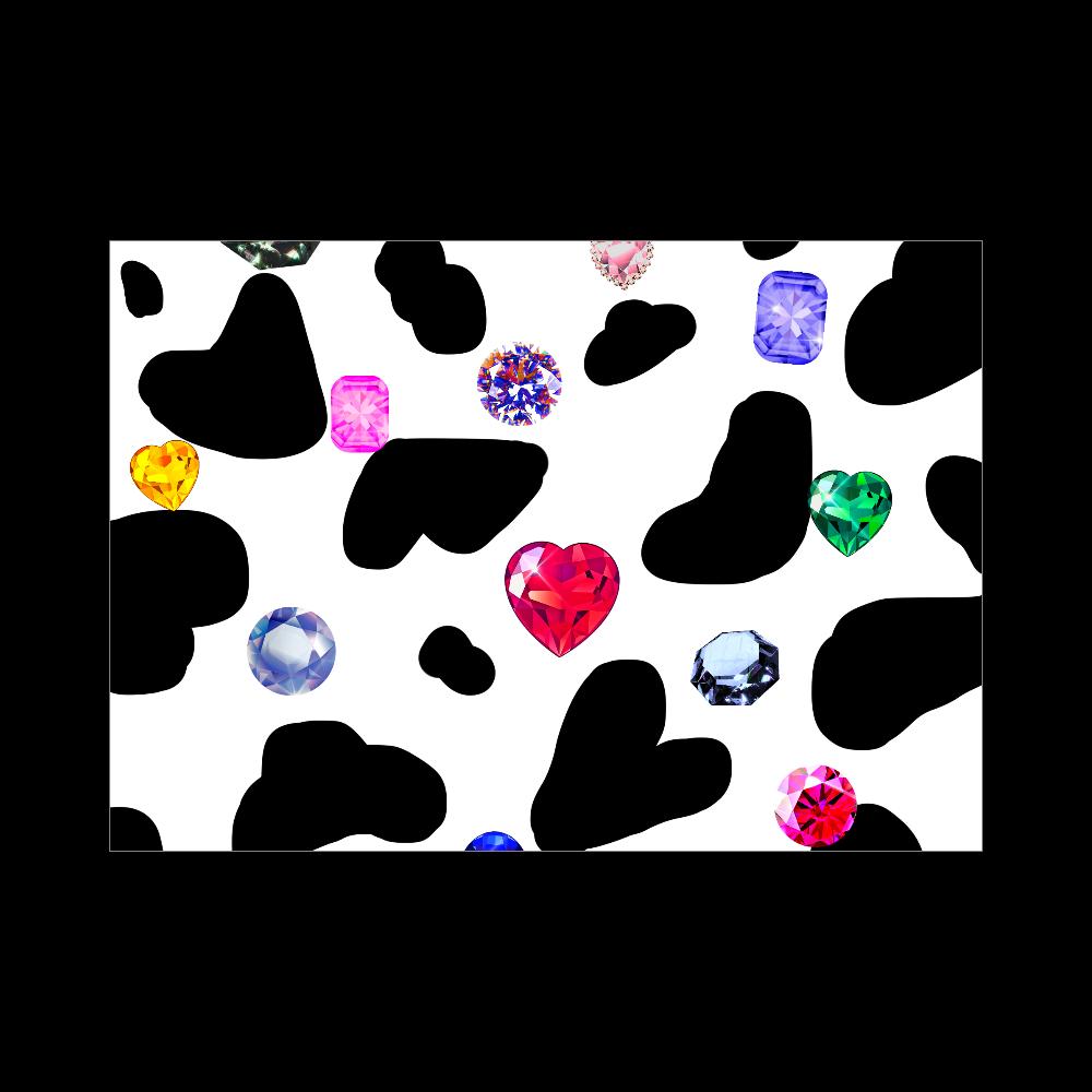 牛柄と宝石 ブランケット - 700 x 1000 (mm) - ポリエステル ホワイト ブランケット - 700 x 1000 (mm) - ポリエステル