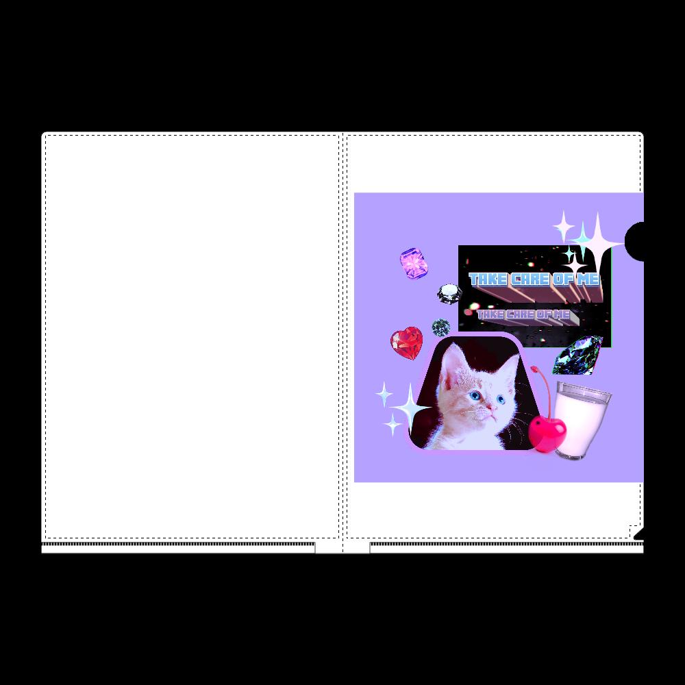 異次元ネコちゃん A4フルグラフィッククリアファイル 透明 (全面白引き) A4フルグラフィッククリアファイル