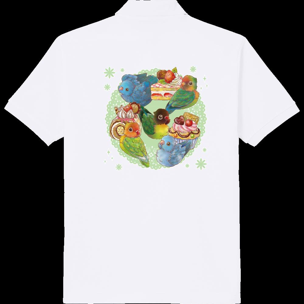 ケーキとボタンインコ&マメルリハポロシャツ 定番ポロシャツ