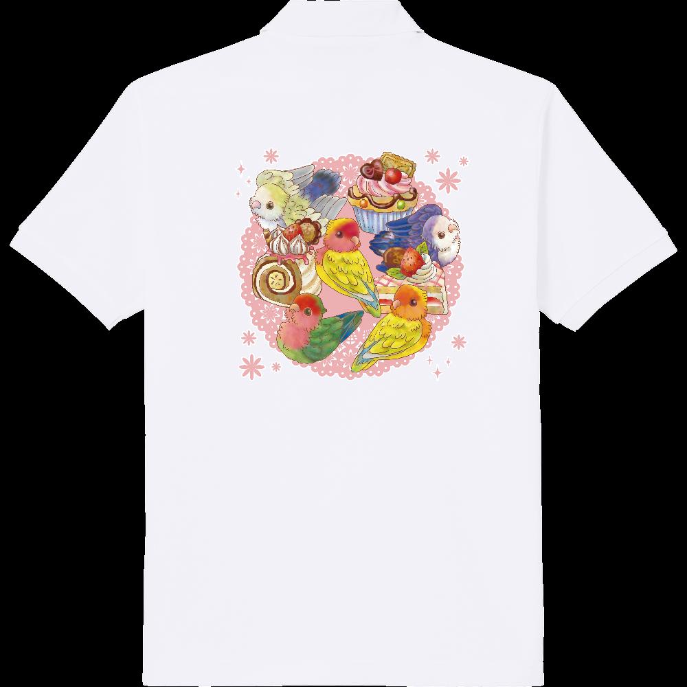 ケーキとコザクラインコポロシャツ 定番ポロシャツ
