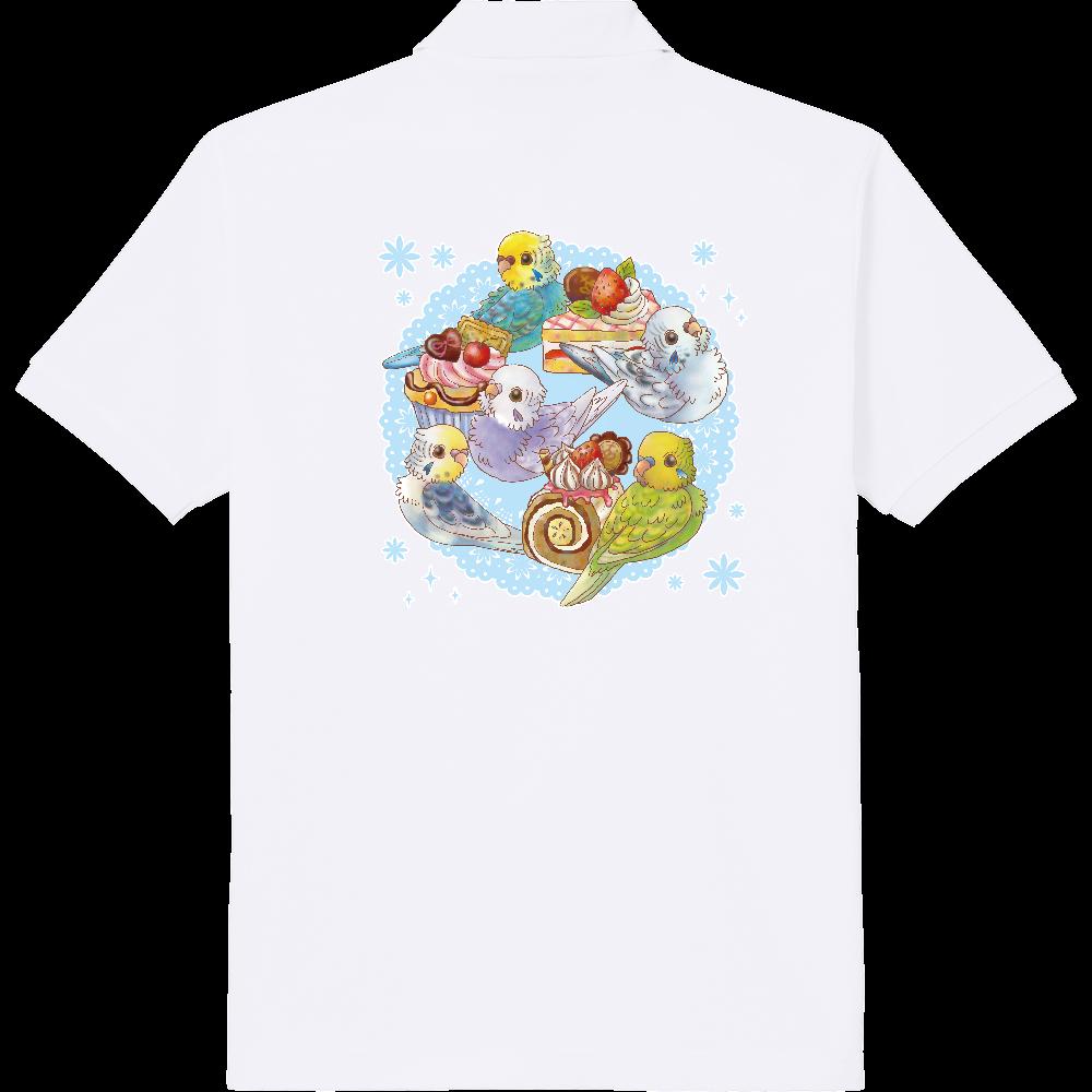 ケーキとセキセイインコポロシャツ 定番ポロシャツ