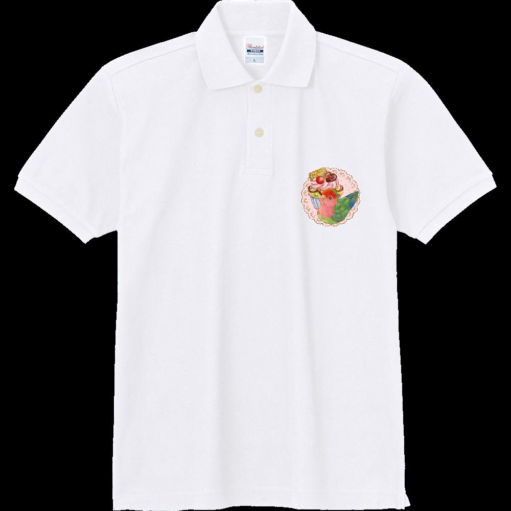 ケーキとコザクラインコ1ポイントポロ 定番ポロシャツ