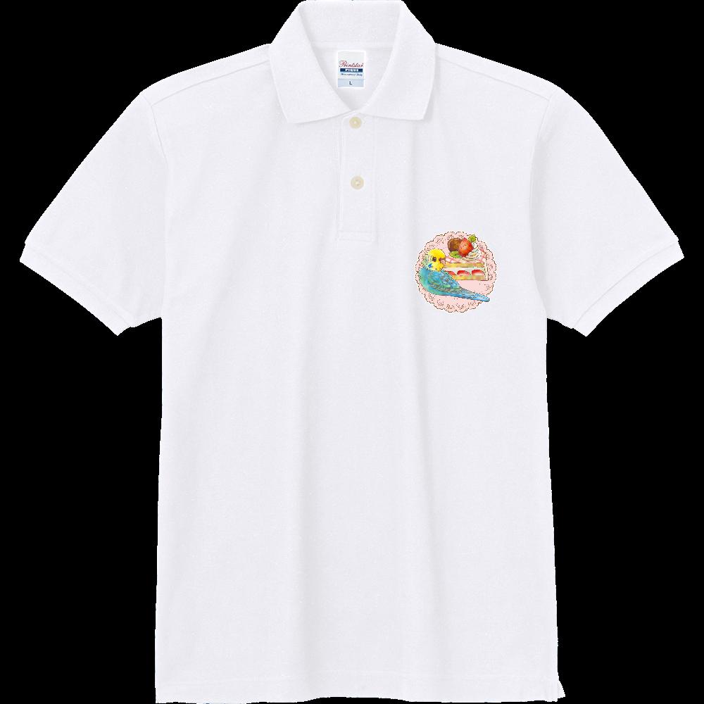 ケーキとセキセイイエローフェイス1ポイントポロ 定番ポロシャツ