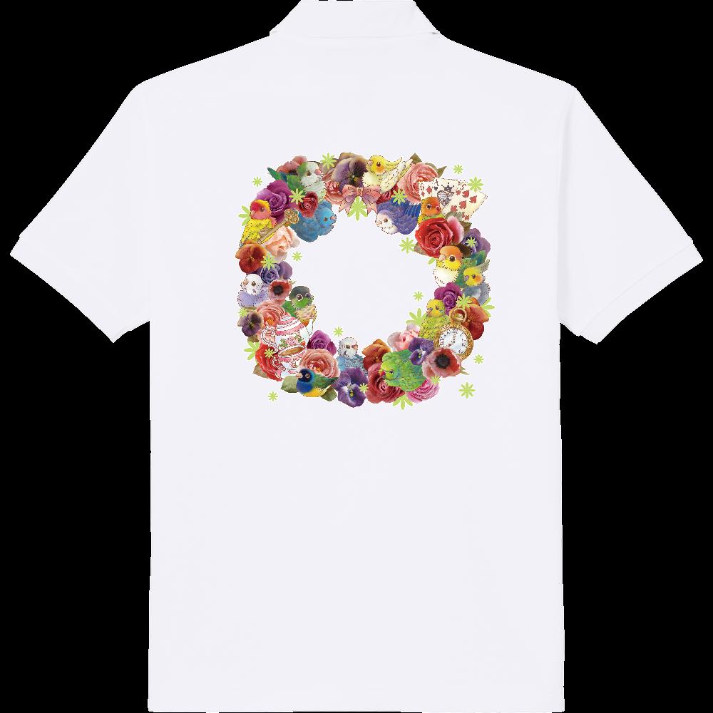 お花とインコのリースポロシャツ 定番ポロシャツ