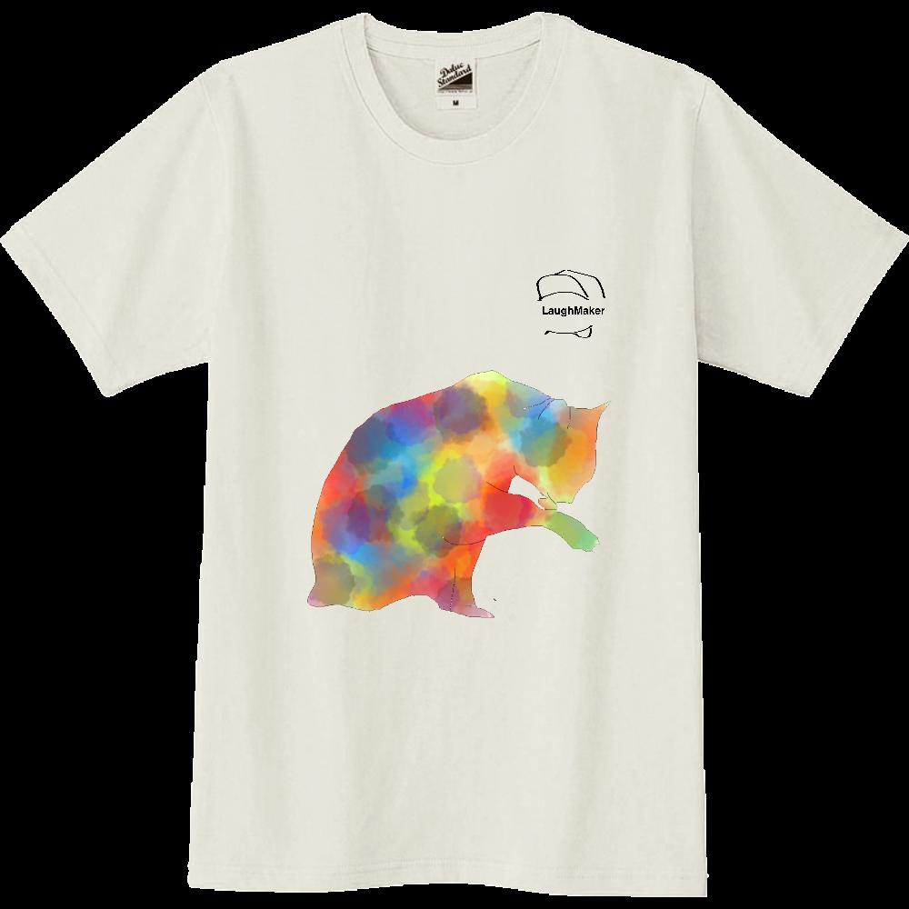 ねこプリントシャツ スリムTシャツ