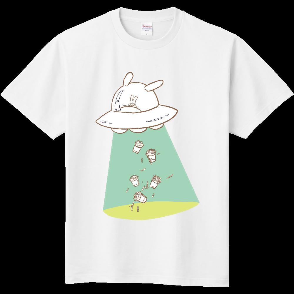 キャトるUFOうさぎ(芋)シンプルTシャツ 定番Tシャツ