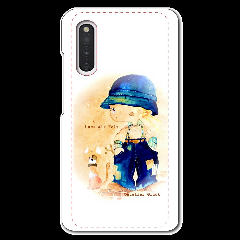 グリュックガール Las dir Zeit「ゆっくりでいいよ」セピア  Galaxy A41 SC-41A/SCV48/UQ mobile用ハードホワイトケース
