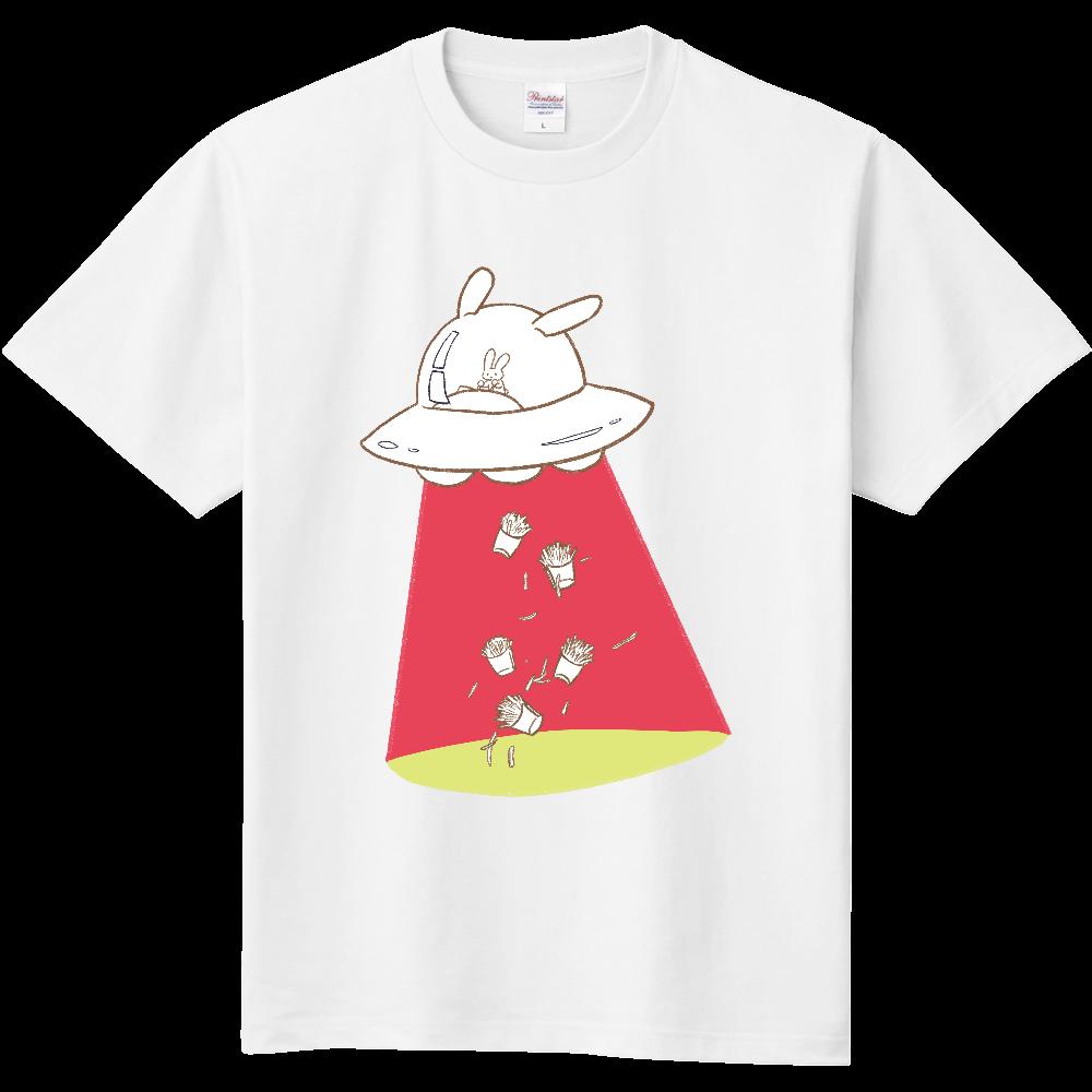 キャトるUFOうさぎ(芋/暖色系)シンプルTシャツ 定番Tシャツ