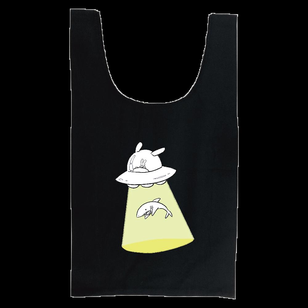 キャトるUFOうさぎ(サメ)シンプル マルシェバッグ 厚手コットンマルシェバッグ(M)