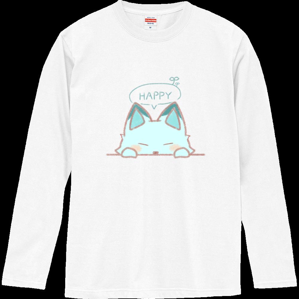 「HAPPY」な狐 ロングスリーブTシャツ ロングスリーブTシャツ