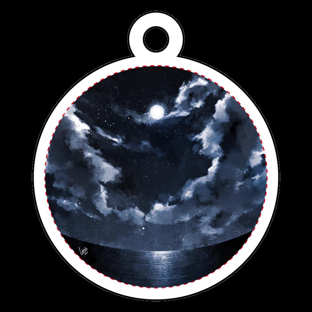 まん丸な夜空 アクリルキーホルダー 丸型 (4cm)