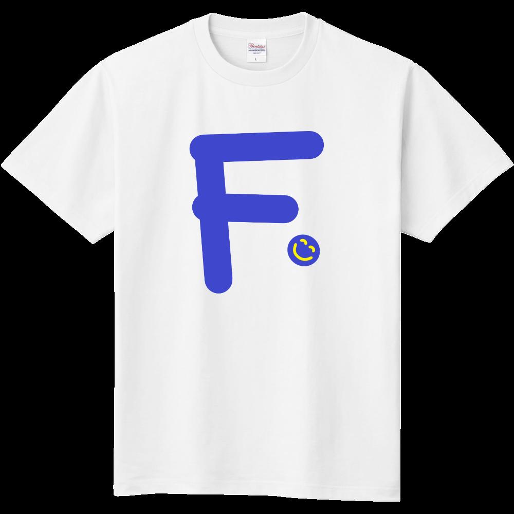 """イニシャル""""F""""&ほのぼの笑顔Tシャツ 定番Tシャツ"""