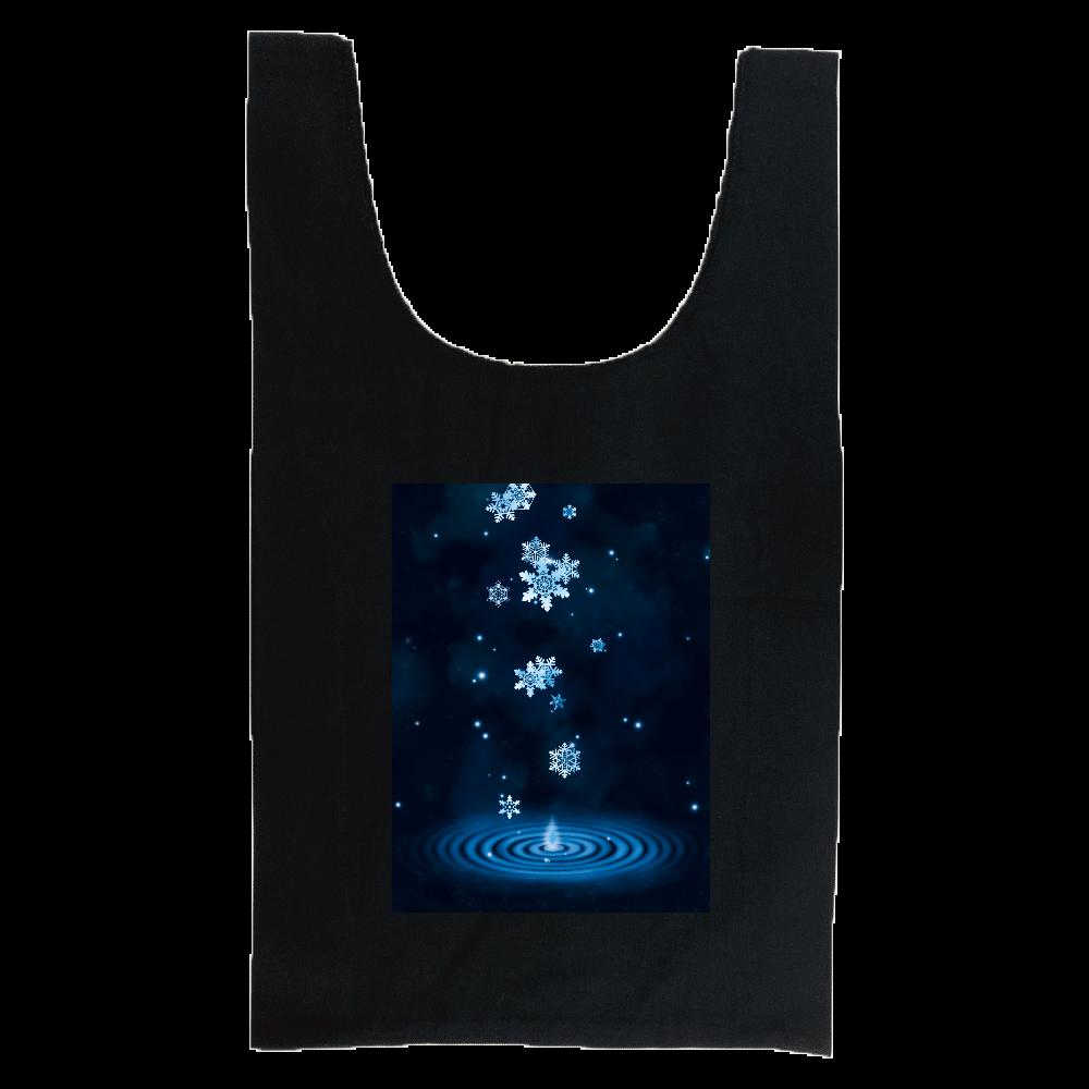 雪の雫水色 厚手コットンマルシェバッグ(M)