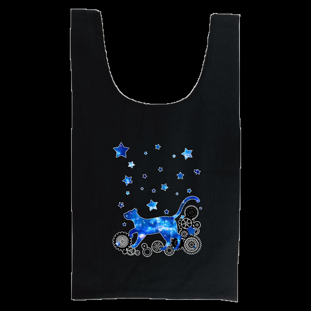 宇宙猫と歯車 厚手コットンマルシェバッグ(M)