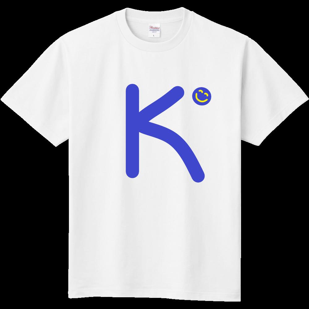 """イニシャル""""K""""&ほのぼの笑顔Tシャツ 定番Tシャツ"""