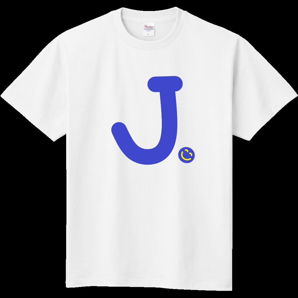 """イニシャル""""J""""&ほのぼの笑顔Tシャツ 定番Tシャツ"""