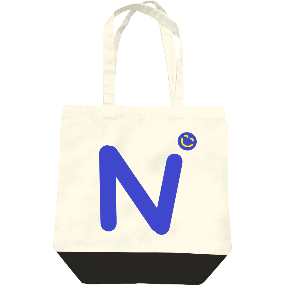 """イニシャル""""N""""&ほのぼの笑顔トートバッグ レギュラーキャンバストートバッグ(M)"""