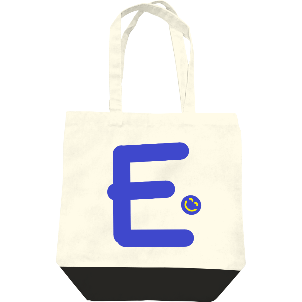 """イニシャル""""E""""&ほのぼの笑顔トートバッグ レギュラーキャンバストートバッグ(M)"""