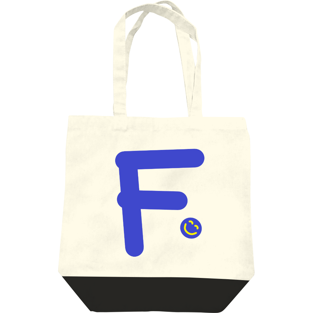 """イニシャル""""F""""&ほのぼの笑顔トートバッグ レギュラーキャンバストートバッグ(M)"""