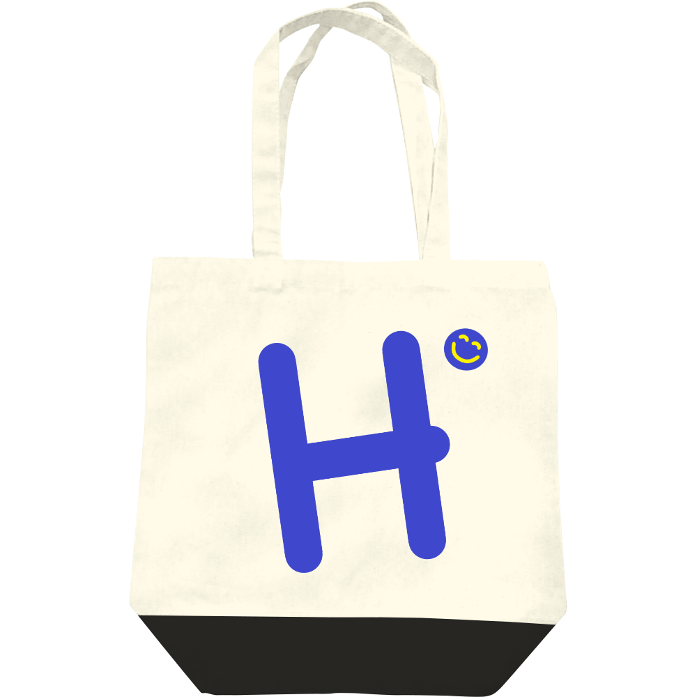 """イニシャル""""H""""&ほのぼの笑顔トートバッグ レギュラーキャンバストートバッグ(M)"""