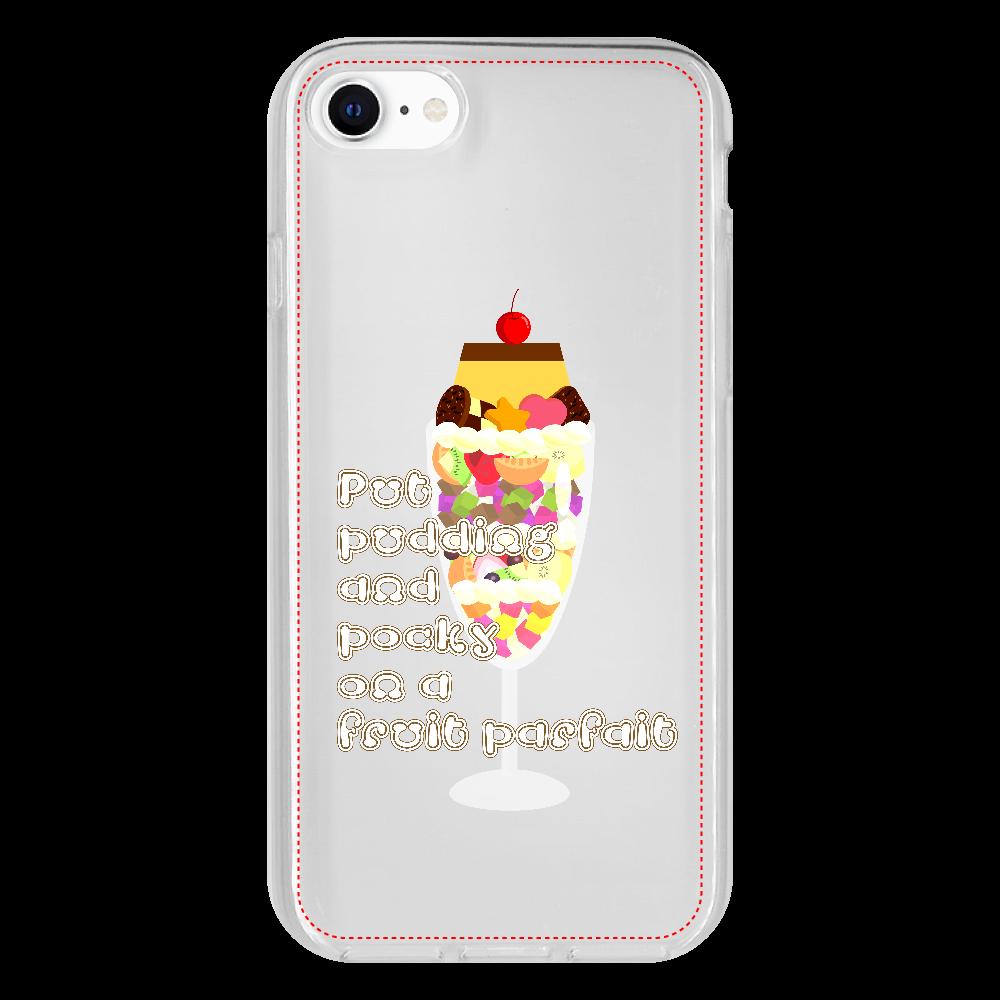 フルーツパフェにプリンとポッキーをのせて iPhone SE2 抗菌ソフトケース