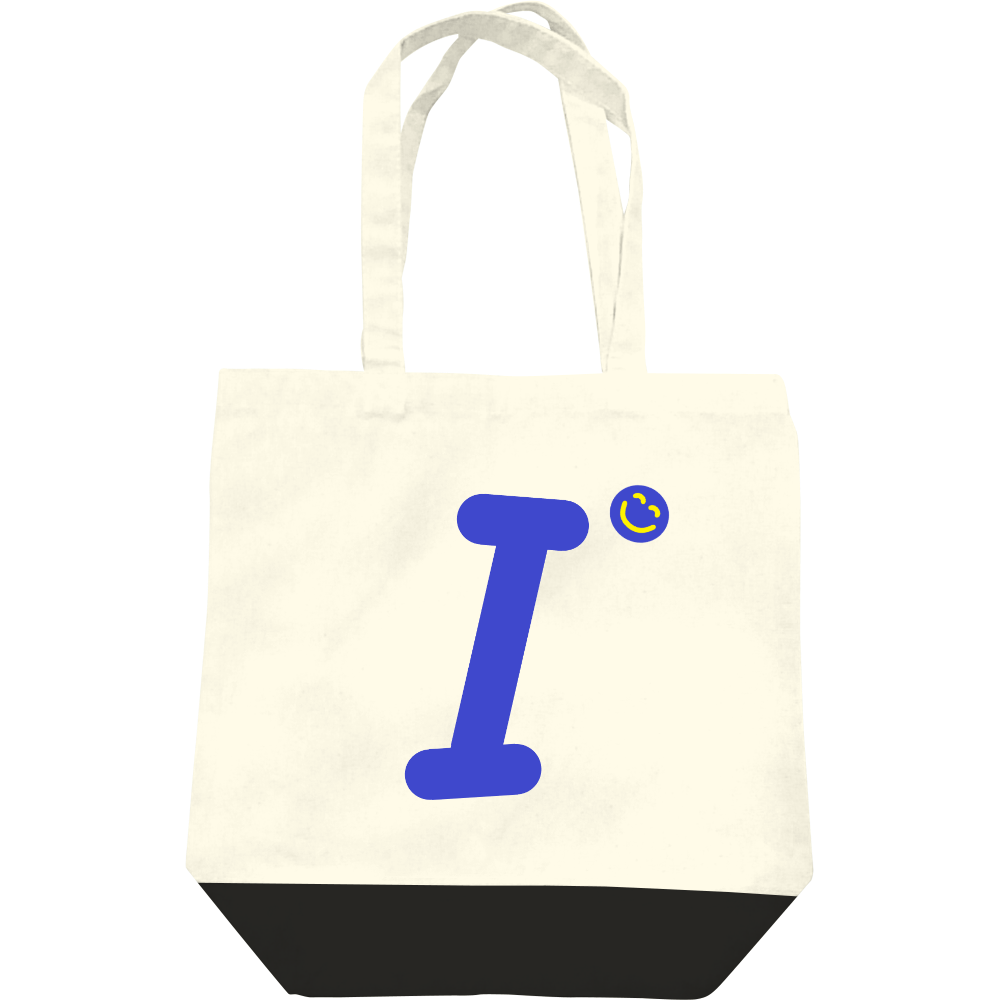"""イニシャル""""I""""&ほのぼの笑顔トートバッグ レギュラーキャンバストートバッグ(M)"""