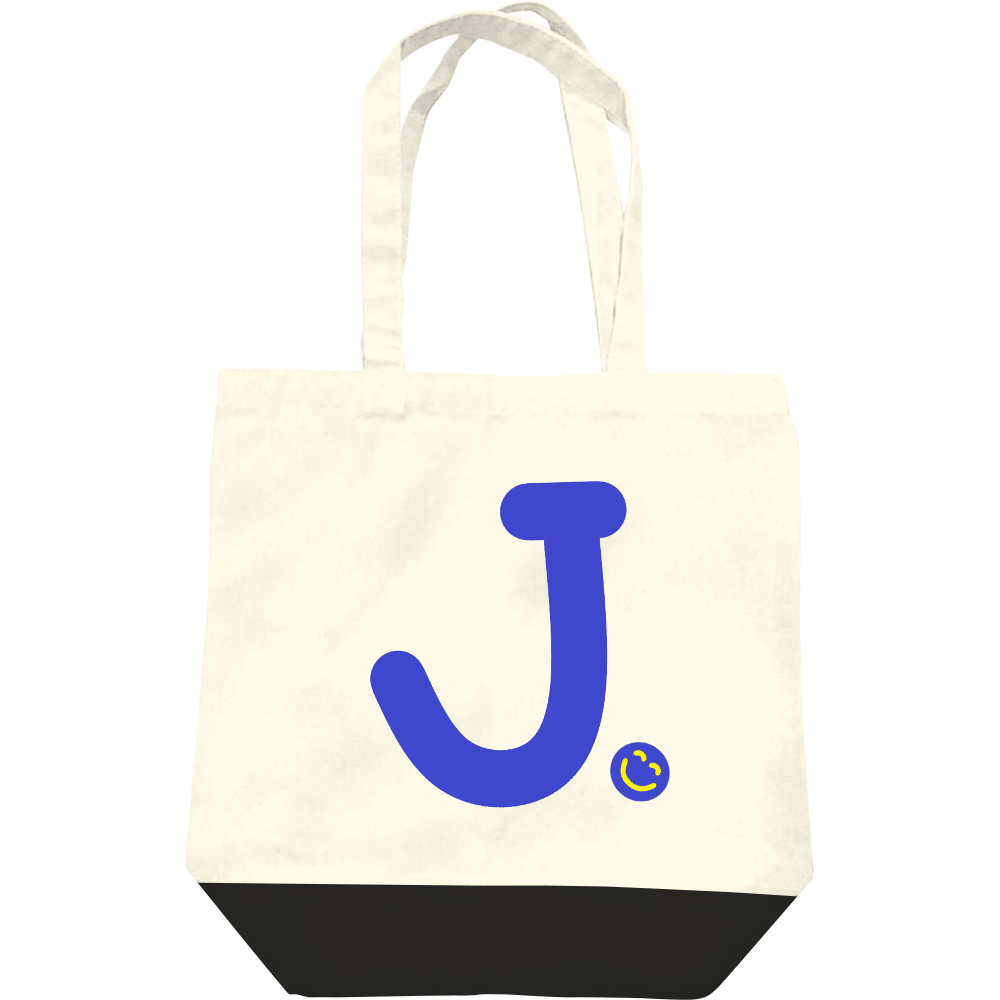 """イニシャル""""J""""&ほのぼの笑顔トートバッグ レギュラーキャンバストートバッグ(M)"""